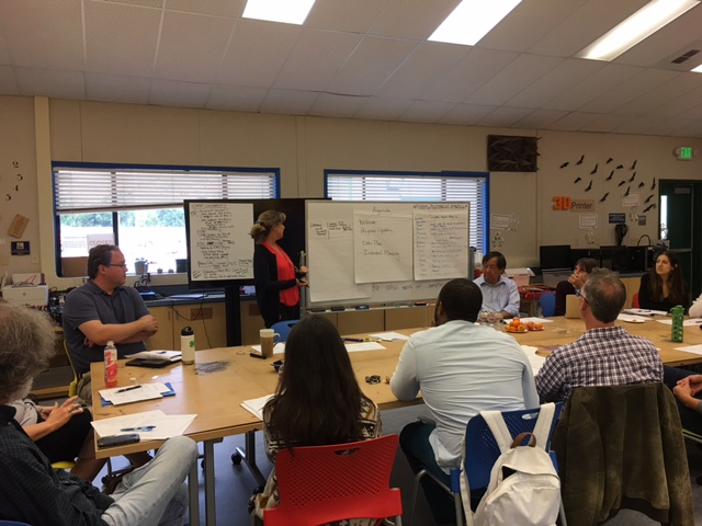 Ann Mathieson facilitates the Third Grade Reading Action Team on May 26, 2017 at MakerSpace in Novato.
