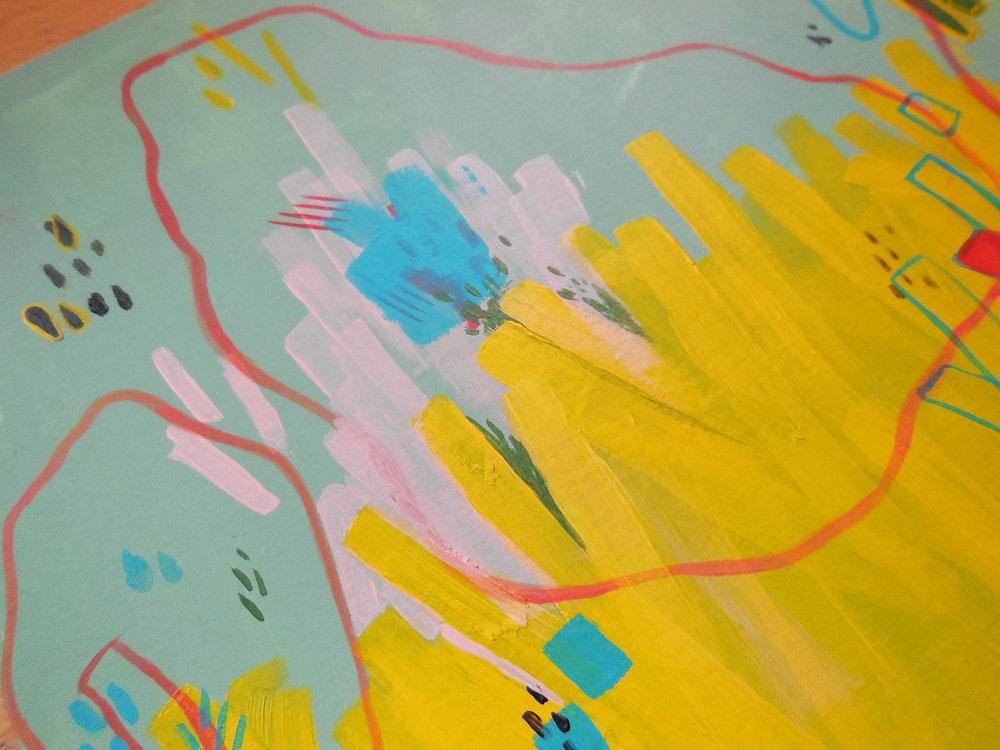 Sea Floor (detail), Acrylic