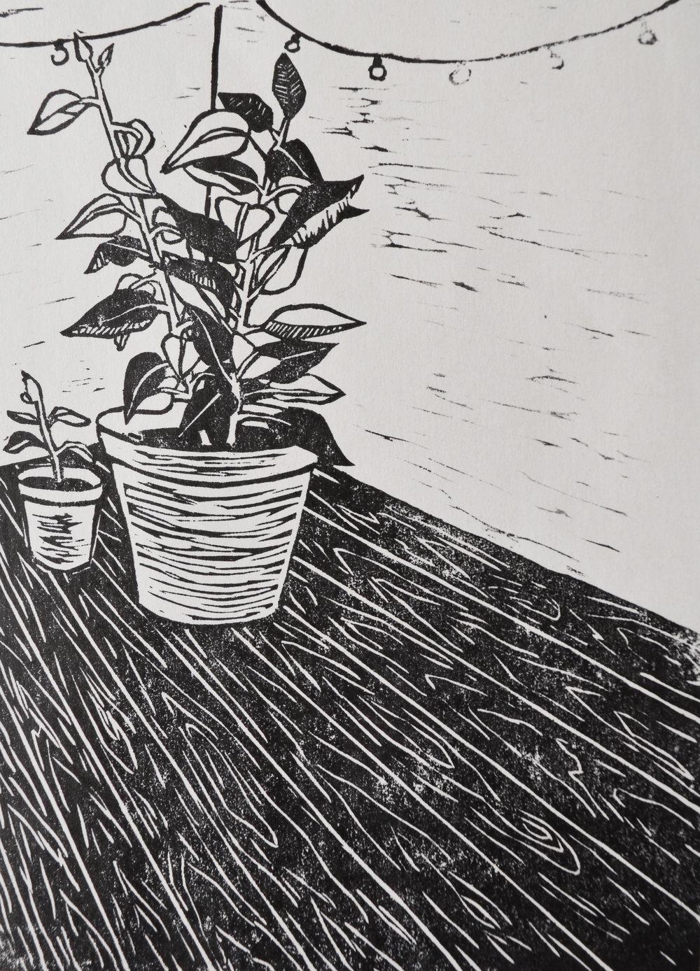 House Plant, Linoleum Print