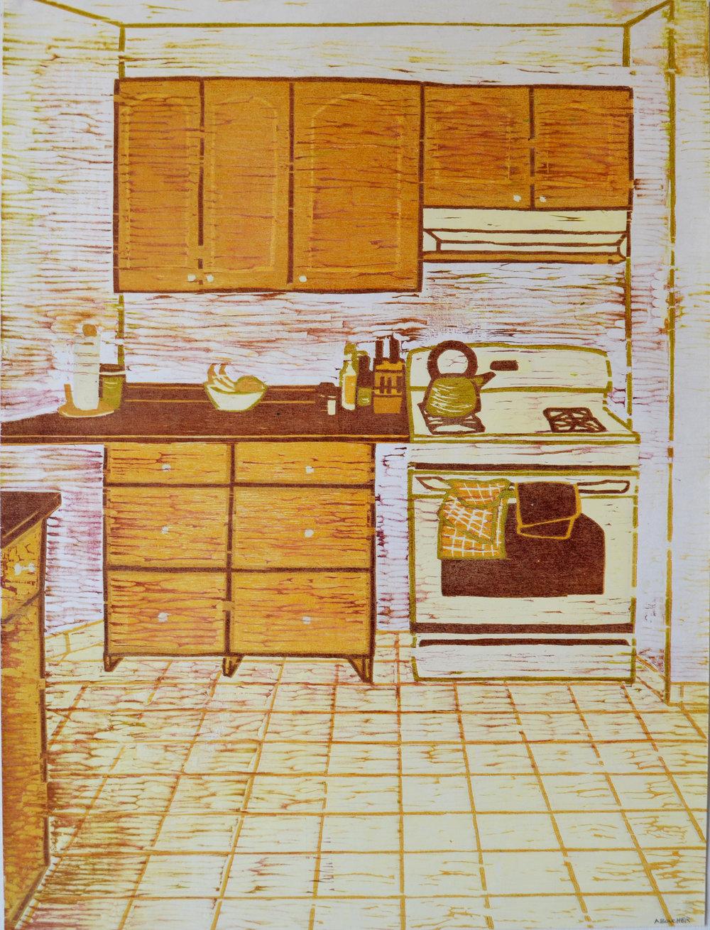 Kitchen, Woodcut