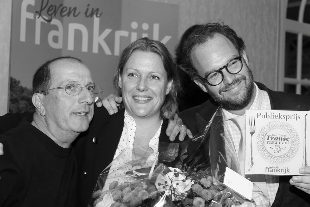 Trotse winnaars van de publieksprijs Het Fijnste Franse restaurant van Nederland 2017