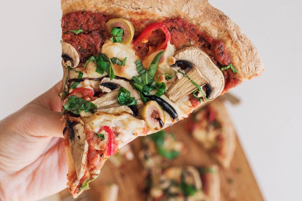vegansk mozarella pizza