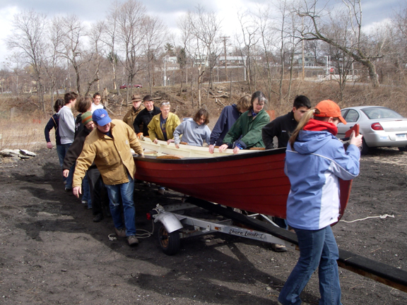 A couple of years back, we received a $5000 grant from the Hudson River Improvement Fund to refurbish our boats for our Hudson River Summer Workshop for Middle School Students. With the money, we added a sail rig and footbraces to Storm King, and a complete overhaul, with new thwarts and rudders and tillers, of the three shad boats.
