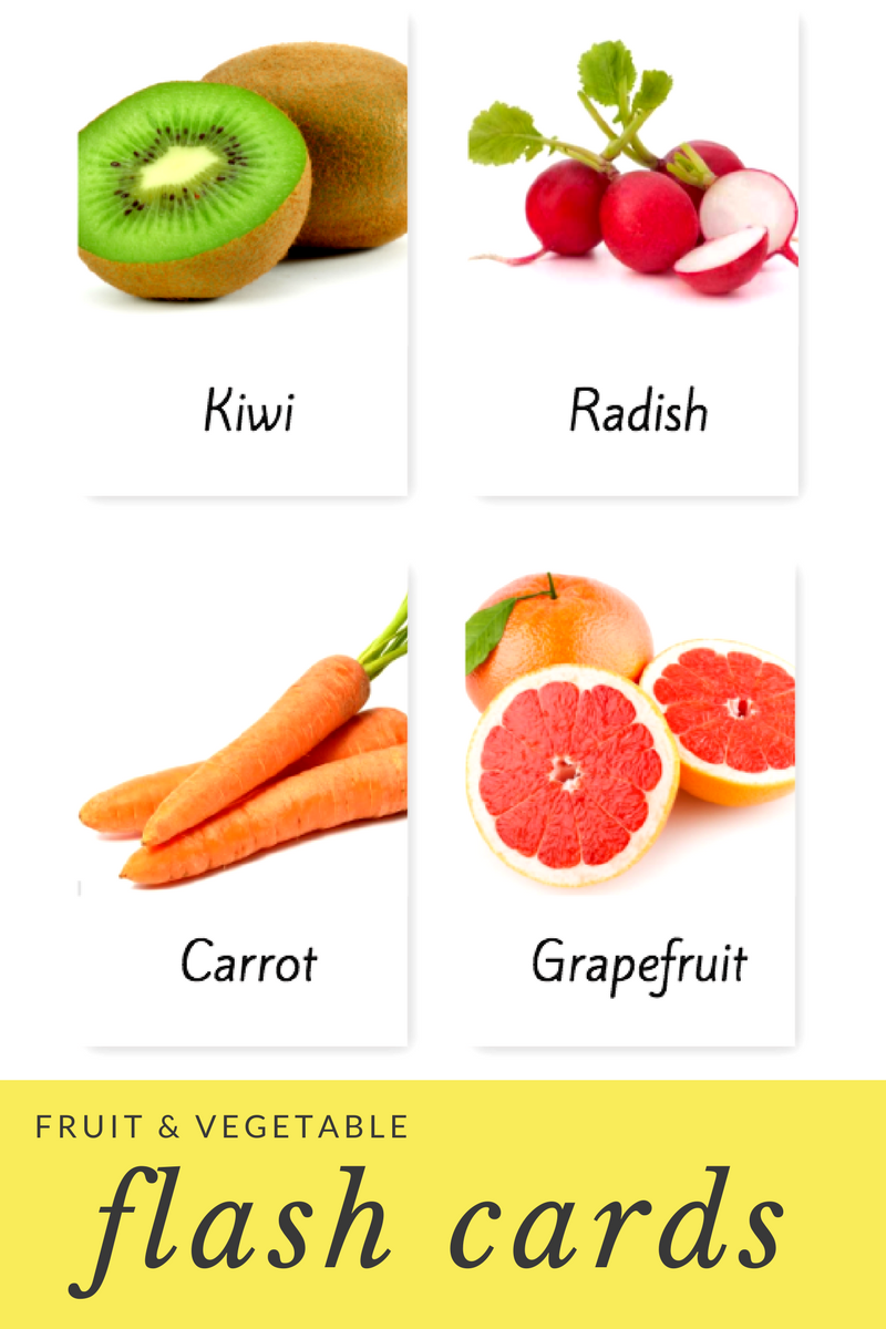 Fruit And Vegetable Flash Cards Mostly Montessori
