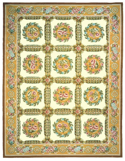 Aubusson Area Rug 5184 Decorative Hand Knotted Area Rugs