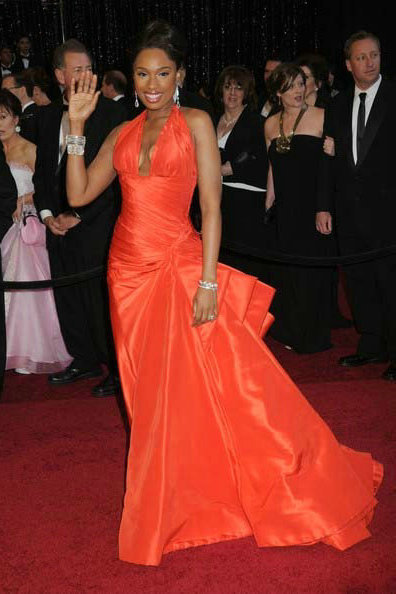 Jennifer Hudson 2011 Sexy V Neck Orange Red Oscar Taffeta Red Carpet Evening Formal Gown