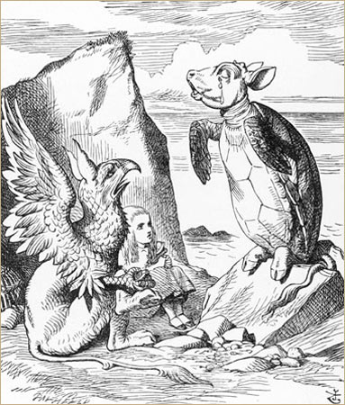 alice-with-the-mock-turtle-and-the-gryphon-illustration-by-john-tenniel-in-alices-adventures-in-wonderland-1932-edition-copy-mary-evans-picture-li