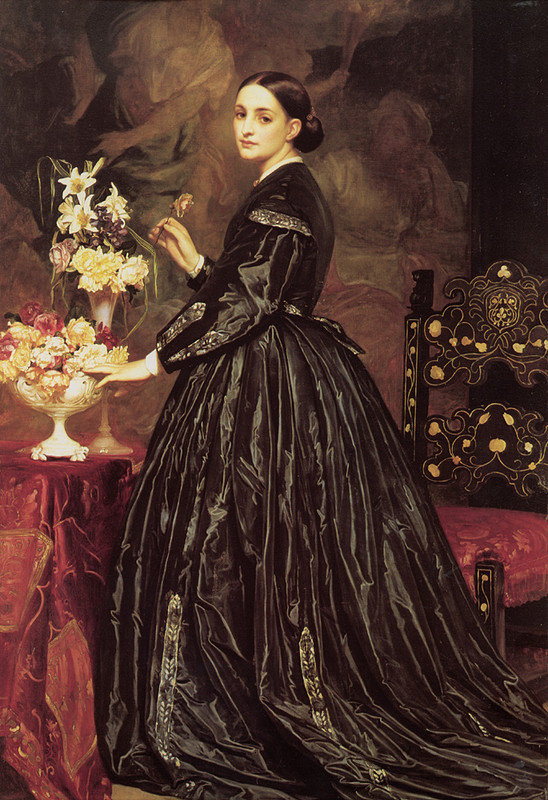 "I found this painting on a feminist website. It was labeled, ""Another Unambitious Woman."" She is, in fact, Mrs. James Guthrie by the Victorian artist  Lord Frederick Leighton . I cannot speak to her ambition."