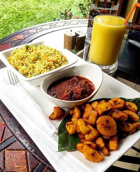 Fried rice, plantain and stew at Terra Kulture.