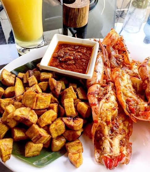 Fried plantains and King Prawns at Terra Kulture.