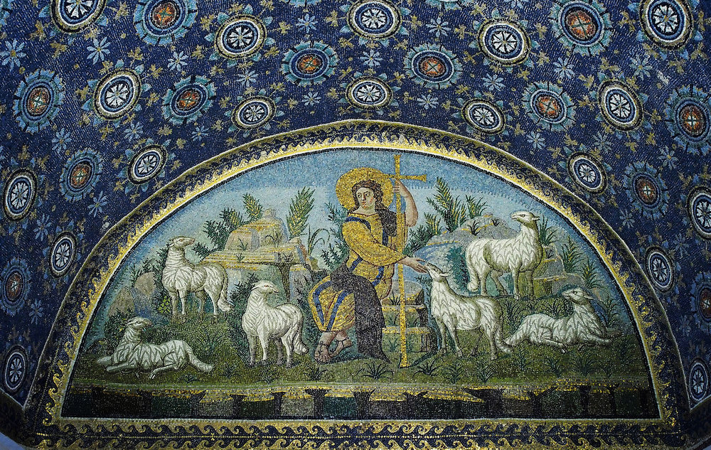"""The Good Shepherd"", 5th Century. Mosaic in the Mausoleum of Gala Placida, Ravenna, Italy."