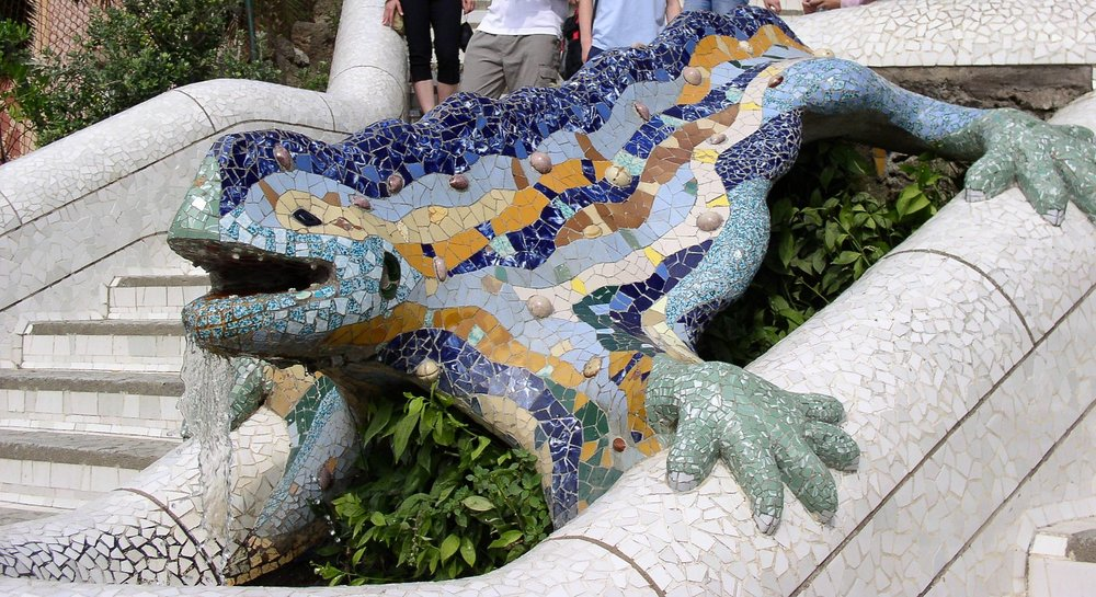 """The Salamander in the Park Guell"" in Barcelona, Spain. Ca. 1904 By Antoni Gaudi."