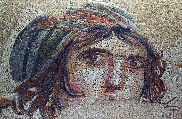 """A Gypsy Girl"". 2nd century mosaic. Museum in Turkey."