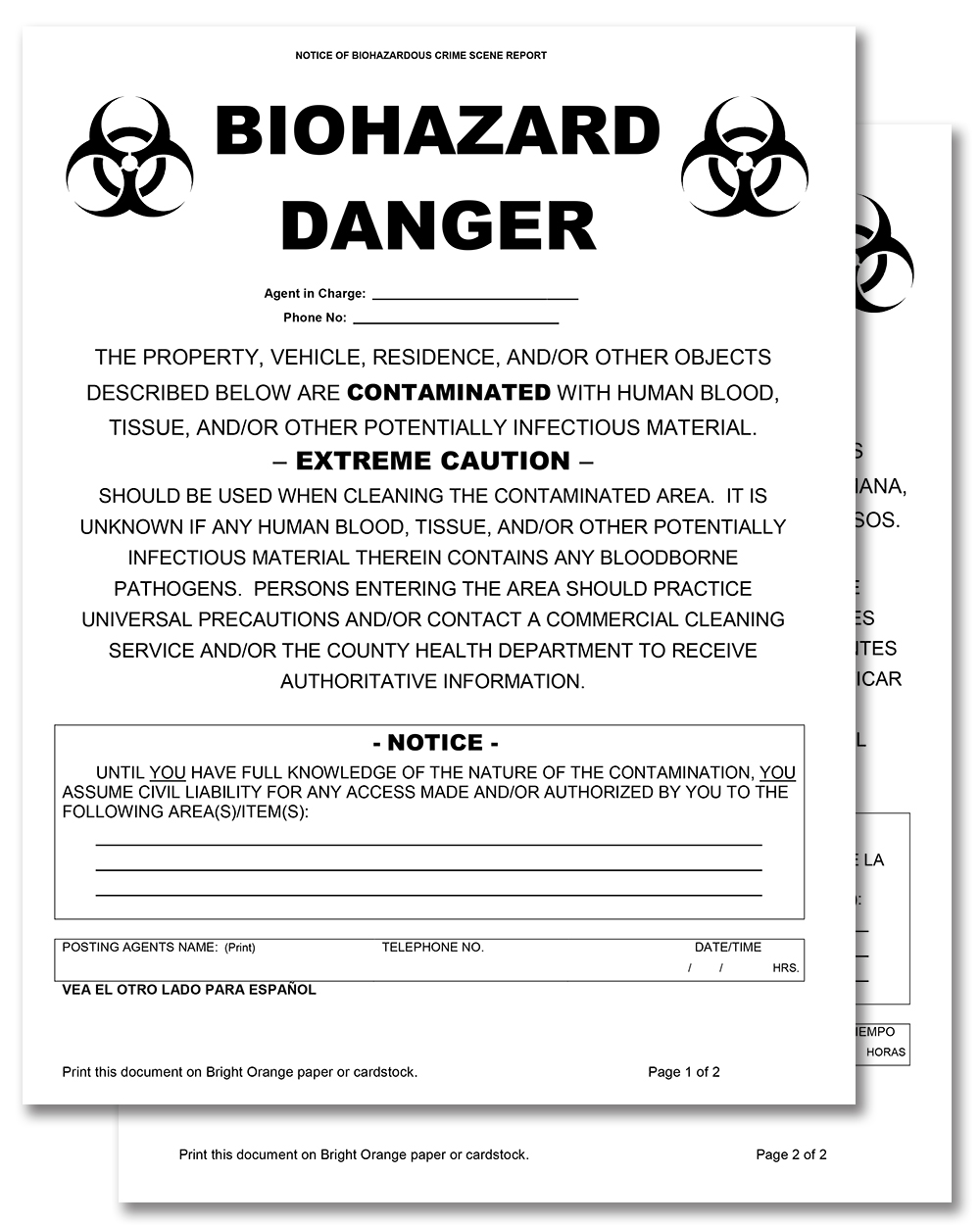 Biohazard Danger Notice (Spanish on Reverse)