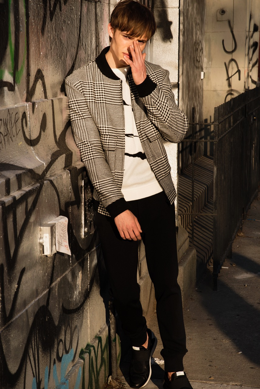 Bomber: David Hart, Sweater: PLAC, Jeans: PLAC, Shoes: Ovadia & Sons