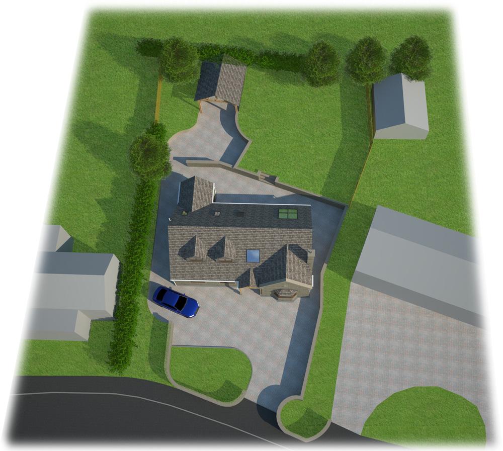 eco home aerial view