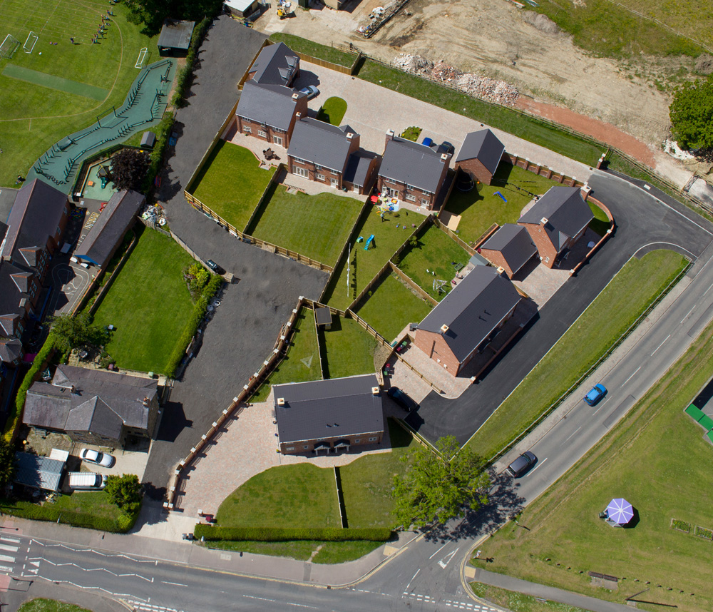 Aerial view of poplar grove residential development