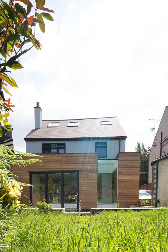 external view of timber cladding from garden