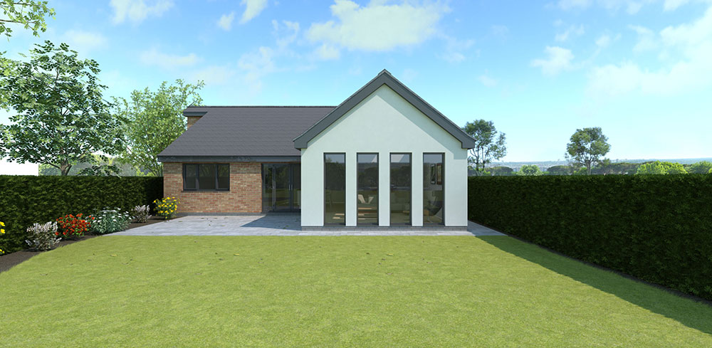 rear elevation of contemporary bungalow