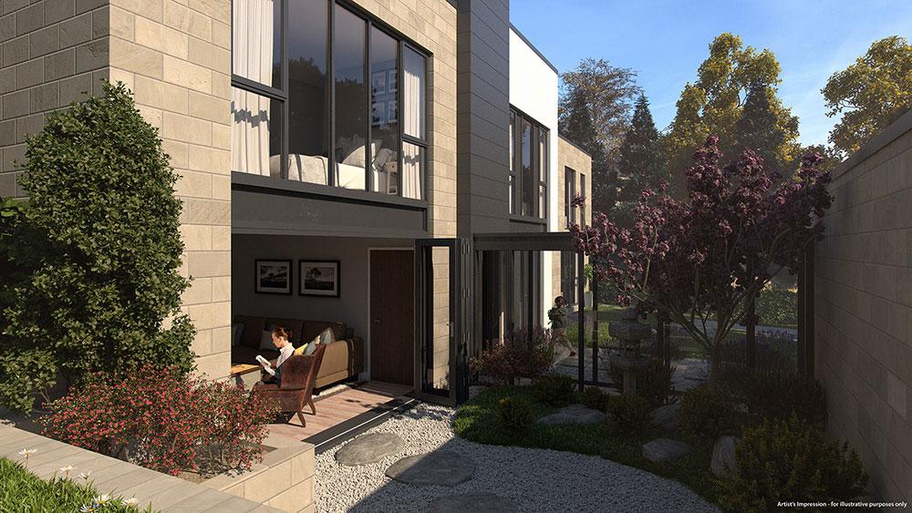 glazed walkway and courtyard