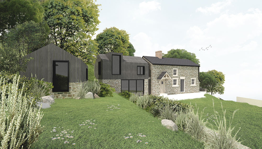 modern cottage extension and out building
