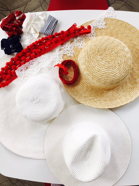 We used 3 different styles :Floppy Sun hat, panama hat, and a boaters straw hat