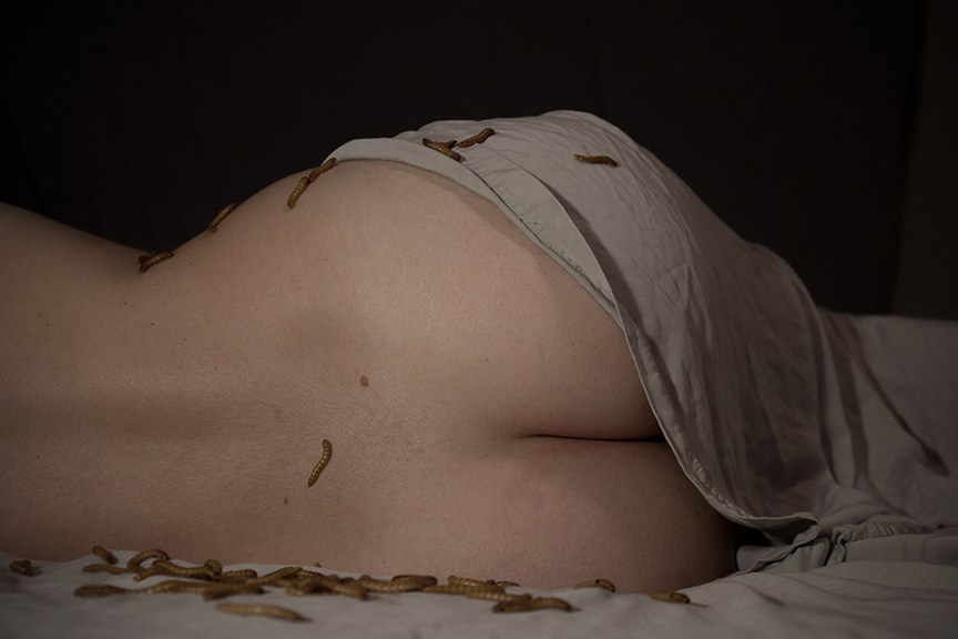 worms, bed, nude