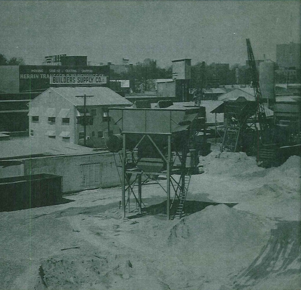This picture from April 1966 shows the original sand and gravel bins and electric crane from 1932.