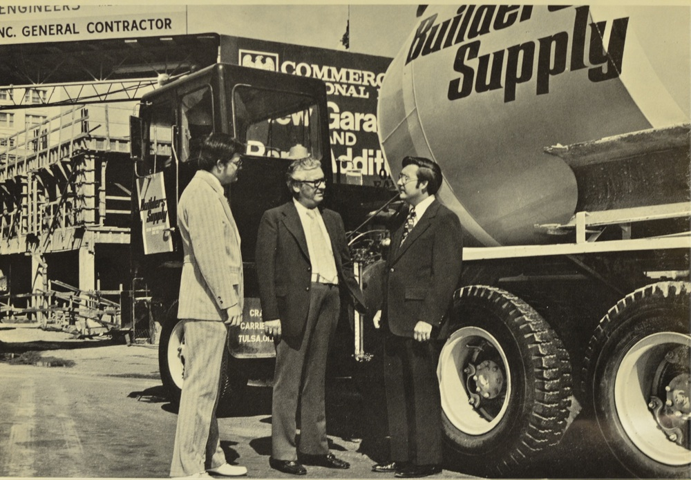 This picture from 1973 shows Bill and Grady Golden along with Ollie Moore during the construction of the Commercial National Bank parking garage.
