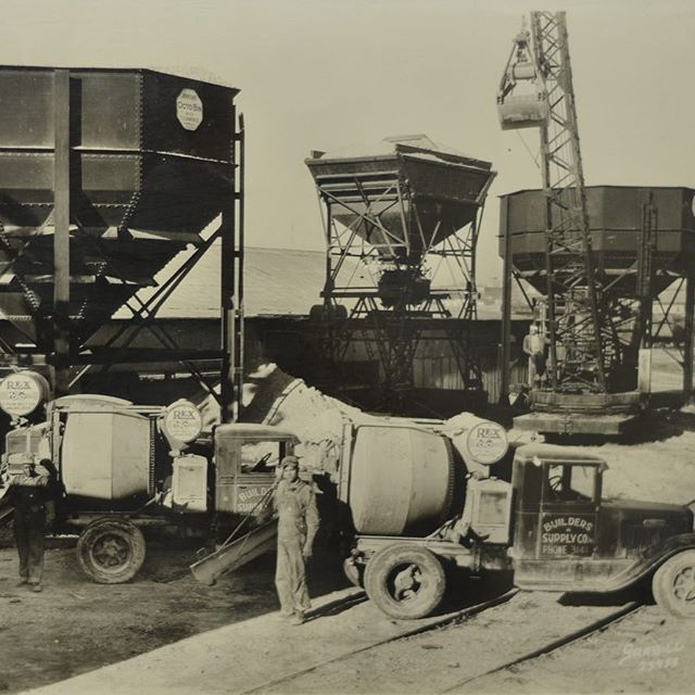 Throwing it back to 1932 on this Throwback Thursday. The first concrete truck was patented in 1926, not long afterwards Builders Supply became the first ready mixed concrete producer to serve Shreveport with the purchase of two 1 yard Rex Mixers.  These mixers were outfitted on the back of International Harvester trucks. This picture from April 1932 shows the first concrete trucks in Northern Louisiana.