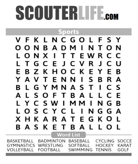 Sports Word Search — ScouterLife