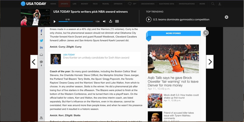 Hi-View player on USA Today (player with article view)