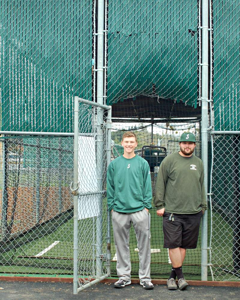 Sonoma Valley High Seniors Joe Peterson and Maclean Meyn spearheaded a project to rehabilitate the batting cage at Arnold Field. Lorna Sheridan/Sonoma Index-Tribune