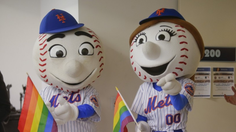 New York Mets mascots Mr. and Mrs. Met attend a news conference to announce the official LGBT Pride Night hosted by the New York Mets Tuesday, Feb. 23, 2016, in New York. Billy Bean, MLB's Vice President of Inclusion and Social Responsibility, has worked closely with Sonoma Stompers pitcher Sean Conroy. The two will be at the 2016 Diversity Business Summit in Phoenix, Ariz. in March, 2016.    Frank Franklin II/AP