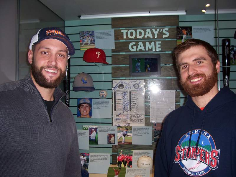 Isaac Wenrich, left, and Sean Conroy at the Baseball Hall of Fame Museum's Today's Game exhibit, which features Conroy's June 25 start as a pro baseball's first openly gay active player. Sean Conroy/Family Photo