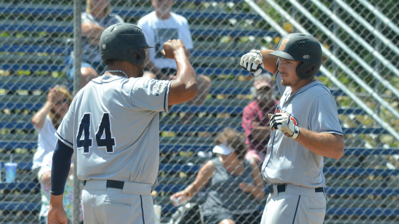 Kristian Gayday celebrates his 3-run homer with Daniel Baptista. James Toy III/Sonoma Stompers