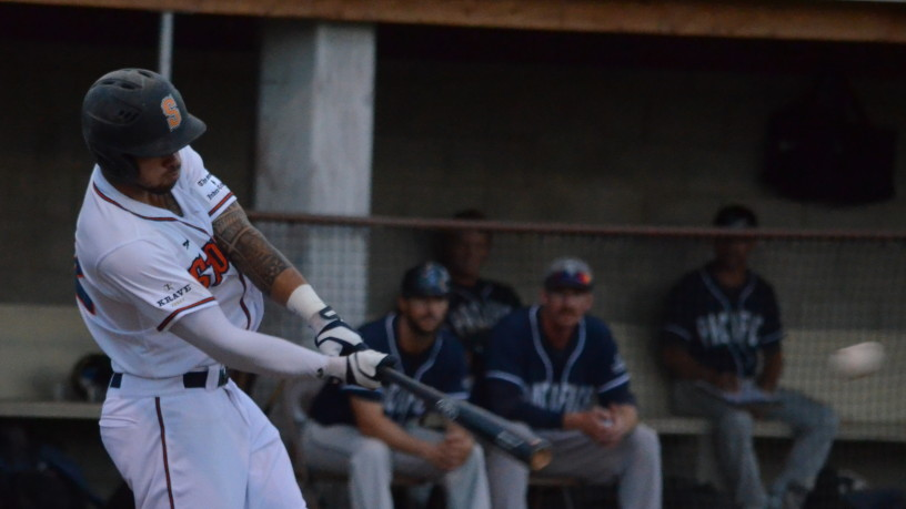 Mark Hurley hits his eighth home run of the season on Friday night. James Toy III/Sonoma Stompers