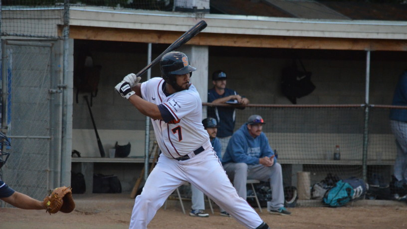 Joel Carranza had three hits on Wednesday night including the game-tying hit in the seventh that brought Sonoma all the way back from a seven run deficit.   James Toy III/Sonoma Stompers