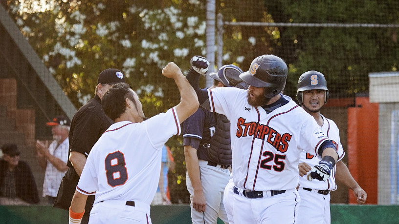 Isaac Wenrich celebrates his grand slam with Yuki Yasuda that was part of Sonoma's seven-run fifth inning on Tuesday night.   Danielle Putonen/Sonoma Stompers