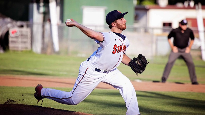 Sonoma Stompers pitcher Sean Conroy, the first openly gay professional baseball player, throws during a minor league baseball game against Vallejo Admirals on Pride Night in Sonoma, Calif., on June 25. James Toy III/Sonoma Stompers, AP