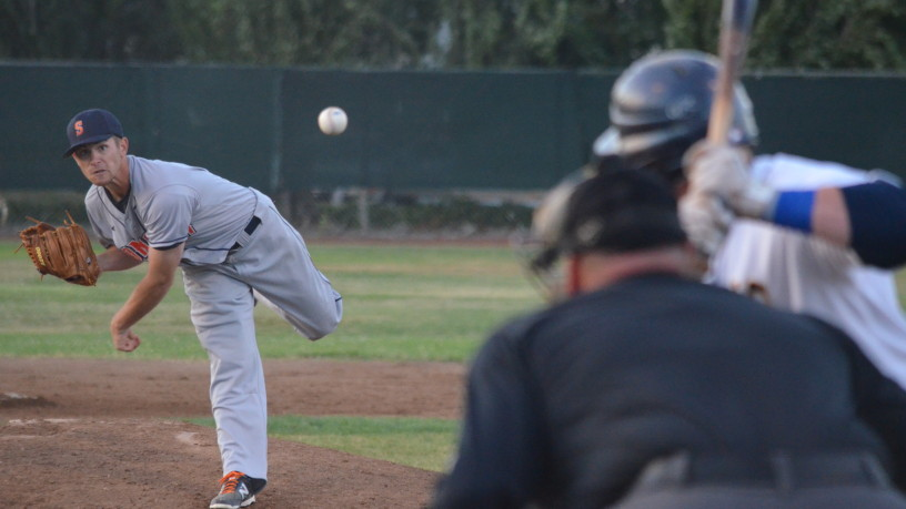 Paul Hvozdovic's first start was a success, as the lefty threw six scoreless innings to help Sonoma to a 3-1 win.   James Toy III/Sonoma Stompers