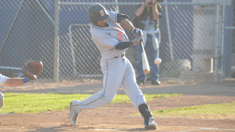 Matt Hibbert hits his first home run of the season to lead off Tuesday's game against Vallejo. James Toy III/Sonoma Stompers