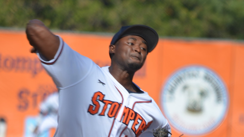 Mike Jackson's six strong innings helped the Stompers to their 20th win of 2015 and kept the team undefeated at Arnold Field.   James Toy III/Sonoma Stompers