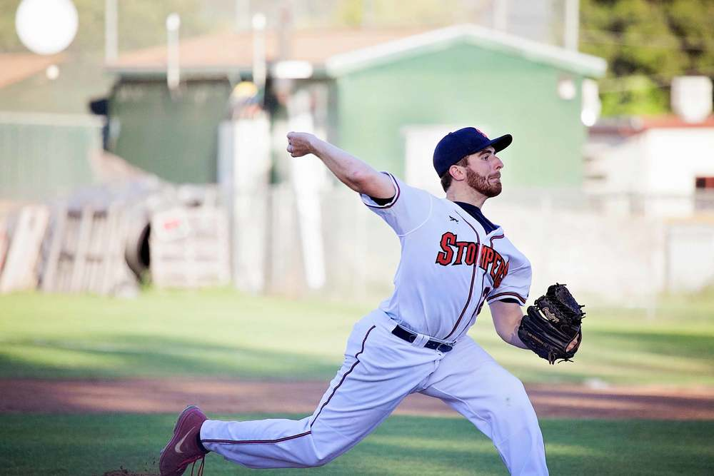 Sean Conroy pitches during Pride Night on Thursday night for the Sonoma Stompers. Conroy, 23, is the first openly gay active pro baseball player in history. Danielle Putonen/Sonoma Stompers