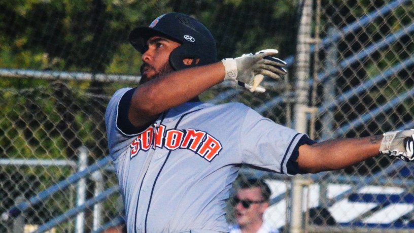 Joel Carranza looks at his team-leading fifth homer of the season that helped spur on the Stompers come-from-behind win in Vallejo on Saturday night. Danielle Putonen/Sonoma Stompers