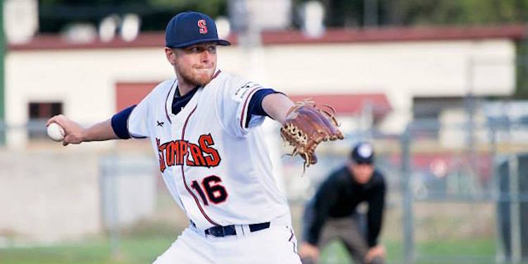 Matt Walker threw the first ever complete game shutout in Stompers history Tuesday night. He had a no-hitter going into the ninth inning before it got broken up by Henry Mejia with two outs to go.   Danielle Putonen/Sonoma Stompers