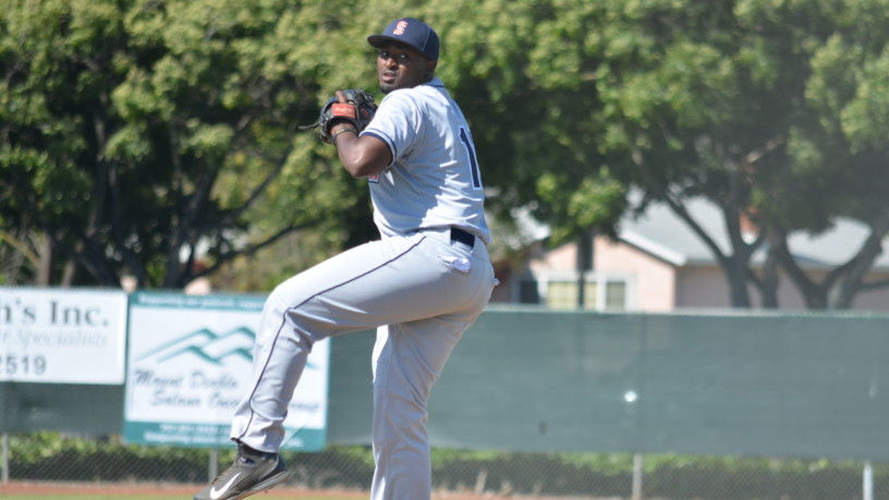 In his first start with the Sonoma Stompers, Mike Jackson, Jr. struck out six over five-plus innings, throwing 43 of 67 pitches for strikes. James Toy III/Sonoma Stompers