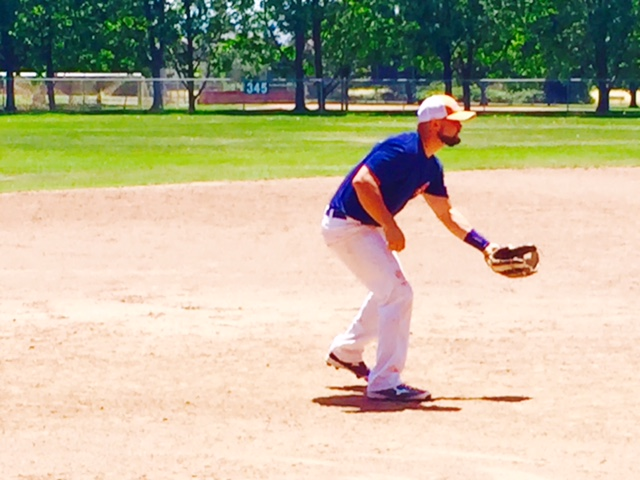 Third basemen Caleb Bryson getting into defensive position at Peterson Field in Sonoma, California.   Geoff Safford/ Sonoma Stompers