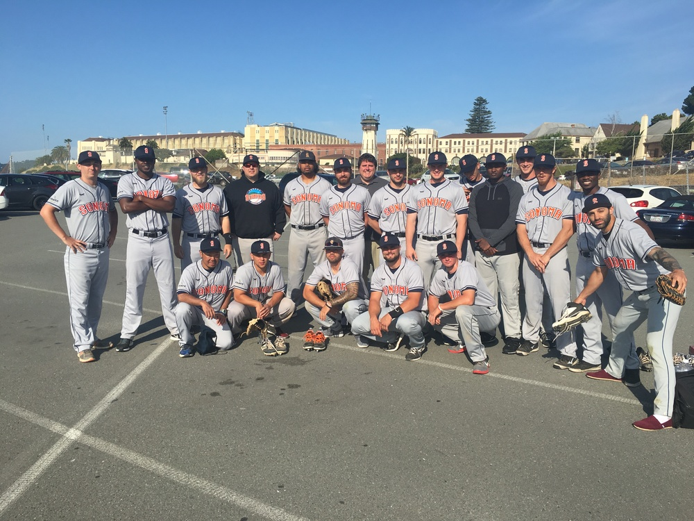 The Stompers pose for a photo before entering San Quentin State Penitentiary for a game against the inmate All-Stars on Saturday. Anthony Grant/Sonoma Stompers