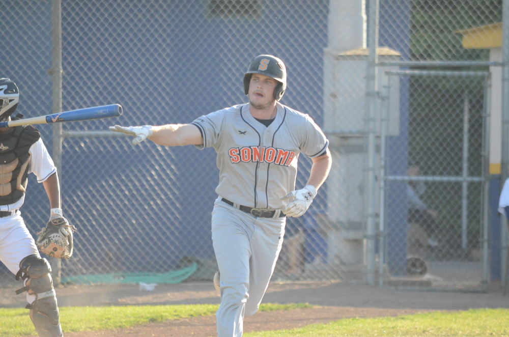 Ethan Szabo had his fourth multi-hit game of the season on Sunday in Sonoma's loss to Pittsburg.   James Toy III/Sonoma Stompers